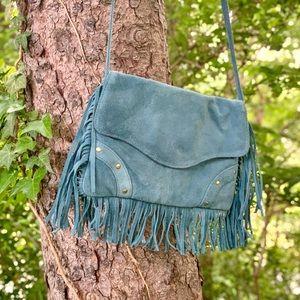 😍Dusty Blue Leather with FRINGE! 😍